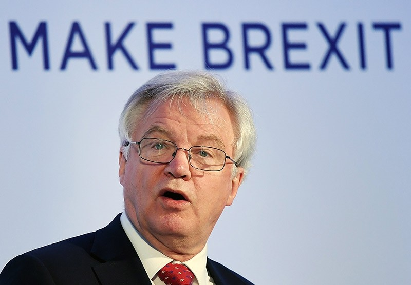 British Secretary of State for Exiting the European Union (in charge of Brexit negotiations) David Davis delivers a speech at the Prosperity UK conference in London, Britain, 26 April 2017 (EPA Photo)