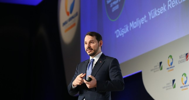 Energy Minister Albayrak delivers a speech at the 9th Energy Efficiency Forum, Istanbul, March 29.