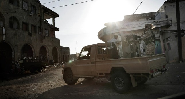 Saudi-led coalition backed forces on patrol, Mocha, Yemen, Feb. 12, 2018.