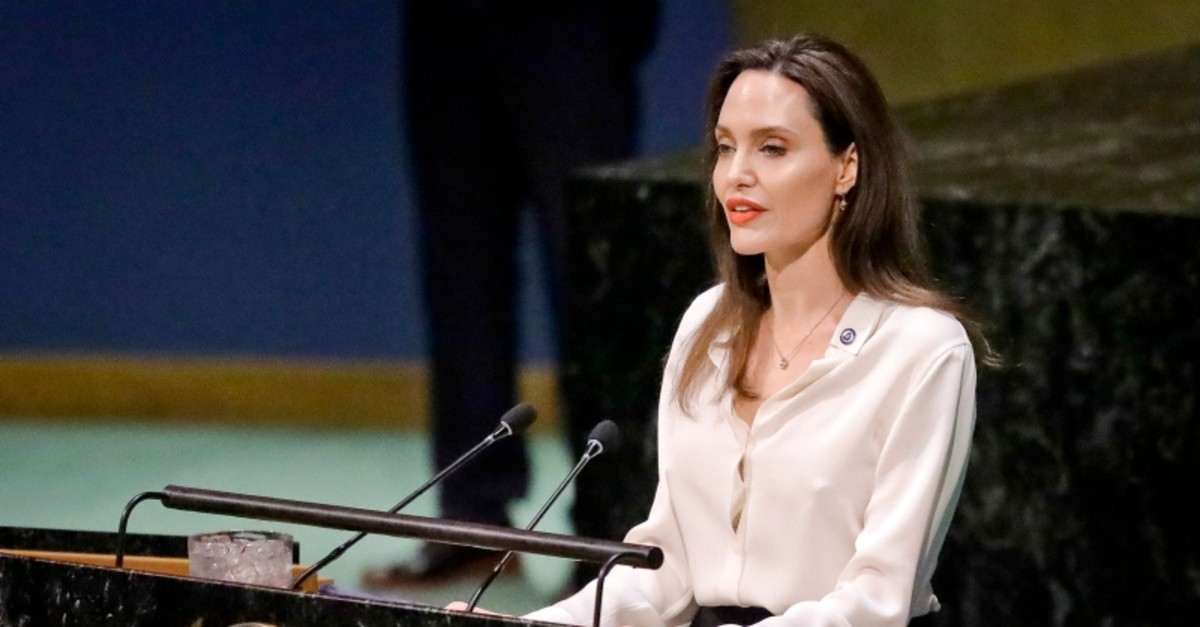 Angelina Jolie, United Nations High Commissioner for Refugees specialu202fenvoy, address a meeting on U.N. peacekeeping at U.N. headquarters, Friday March 29, 2019. (AP Photo)