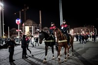 Mounted police ensure a safe New Year at Taksim Square