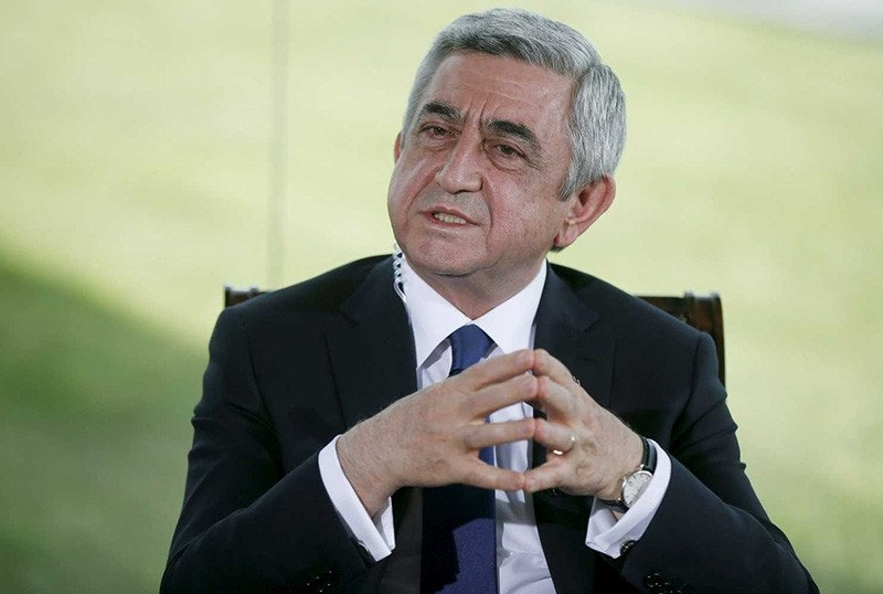 Armeniau2019s President Serzh Sargsyan speaks during a news conference in Yerevan, April 22, 2015. (Reuters Photo)