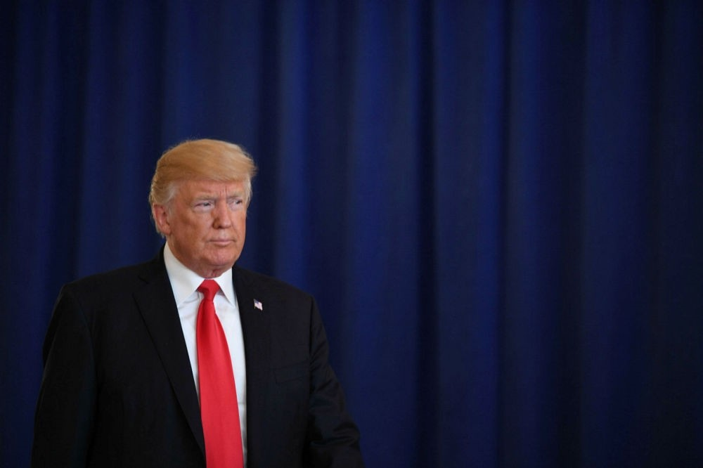 The U.S. President Donald Trump speaks to the press about protests in Charlottesville at Trump National Golf Club in Bedminster, New Jersey on Aug. 12.