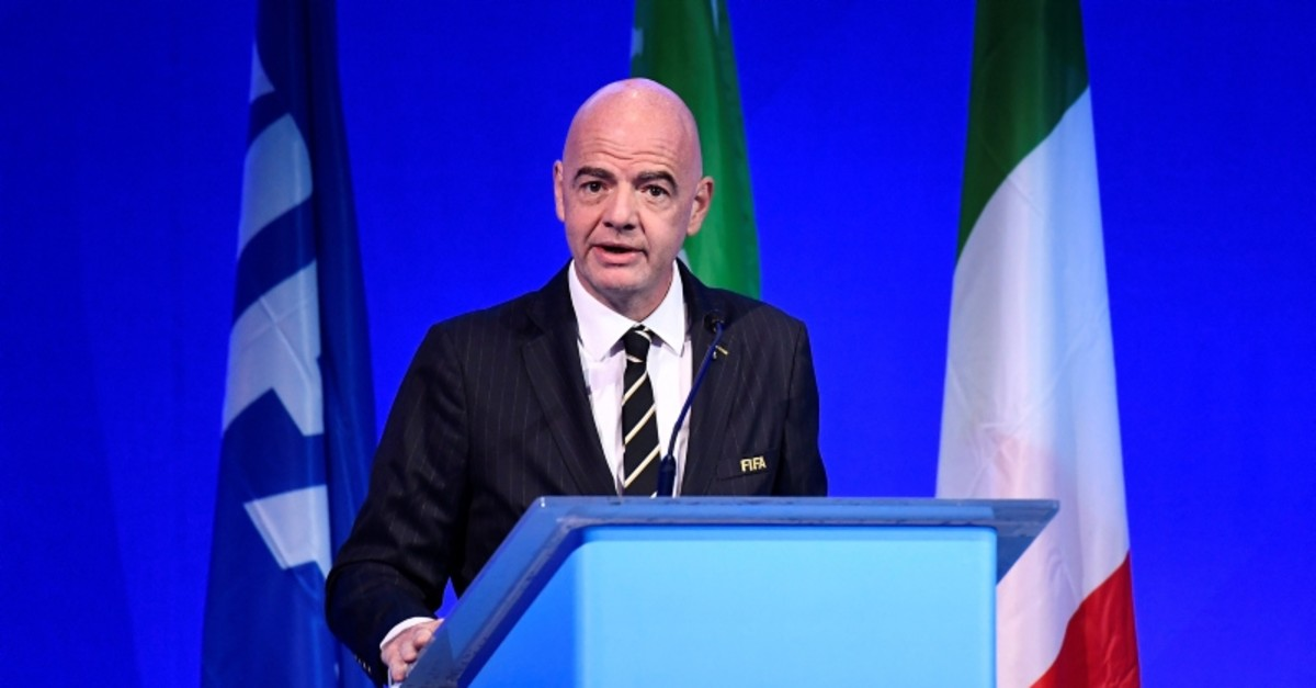 FIFA President Gianni Infantino during the conference in Milan, Italy, Sept. 22, 2019. (Reuters Photo)