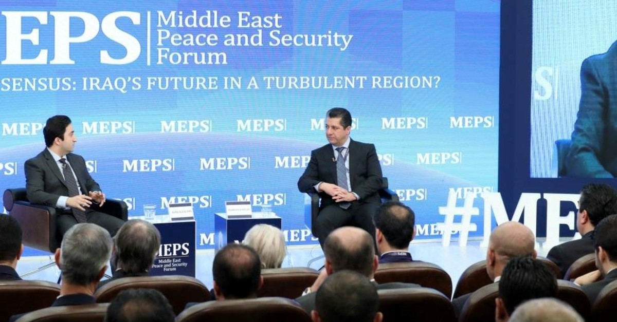 The Kurdistan Regional Government's (KRG) Prime Minister Masrour Barzani speaks at the Middle East Peace and Security Forum held at the American University of Kurdistan in the northern city of Duhok, Iraq, Nov. 20, 2019. (AA Photo)