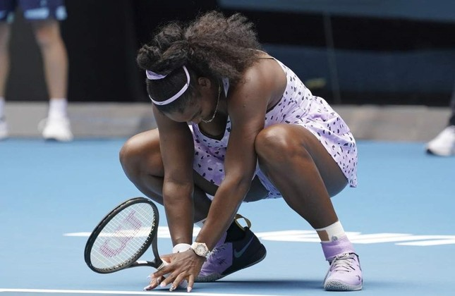 Serena Williams of the U.S. reacts as she plays against China's Wang Qiang in their third round singles match at the Australian Open tennis championship in Melbourne, Australia, Friday, Jan. 24, 2020. AP Photo
