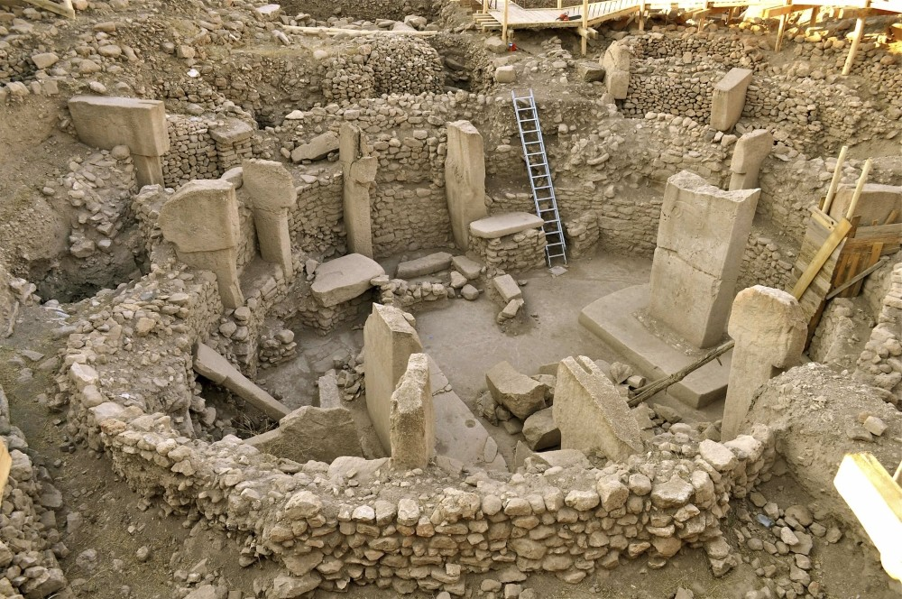 Important findings have been explored at the ancient settlement of Gu00f6beklitepe, including the world's first monumental temples and possibly the first patriarchal philosophy.