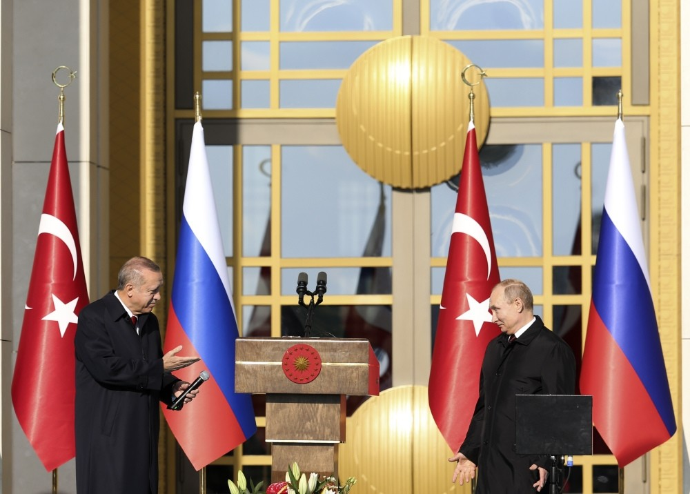 President Erdou011fan and Russian President Putin (R) launch the construction Turkey's first nuclear power plant, Ankara, April 3.