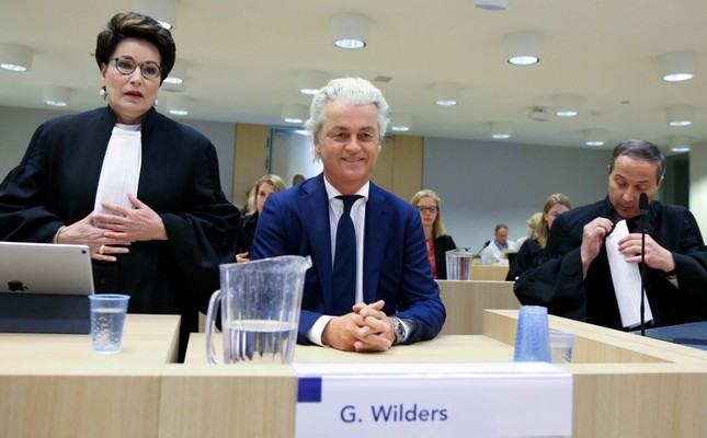 Dutch anti-Islam politician Geert Wilders appears in court for his appeal against a conviction for inciting discrimination, accusing prosecutors of trying to destroy his right to free speech, in Amsterdam, Netherlands May 17, 2018. (Reuters Photo)