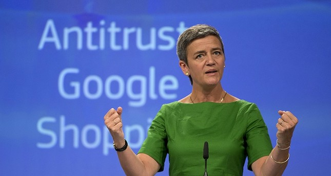 European Union Commissioner for Competition Margrethe Vestager speaks during a media conference at EU headquarters in Brussels on Tuesday, June 27, 2017 (AP Photo)