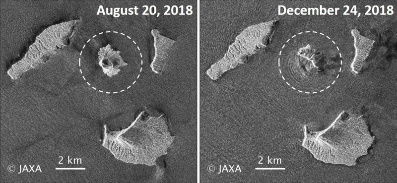 Ahandout photo made available by the JAXA shows two images acquired by JAXA's ALOS-2 satellite of Indonesia's Anak Krakatau volcano (white-dotted circle) on 20 August 2018 (L) and on on 24 December 2018 (R) -- before and after the tsunami (EPA Photo)