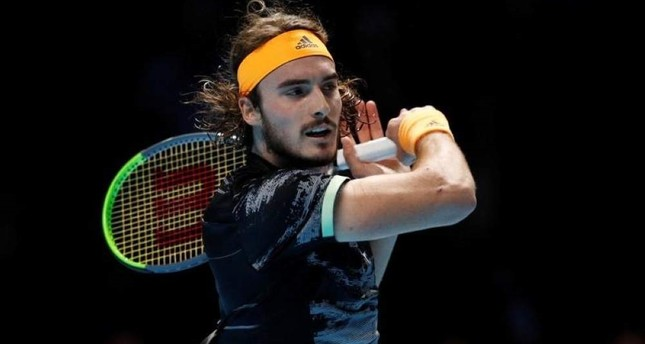 Tsitsipas in action during his semifinal match against Federer, London, Nov. 16, 2019. Reuters Photo