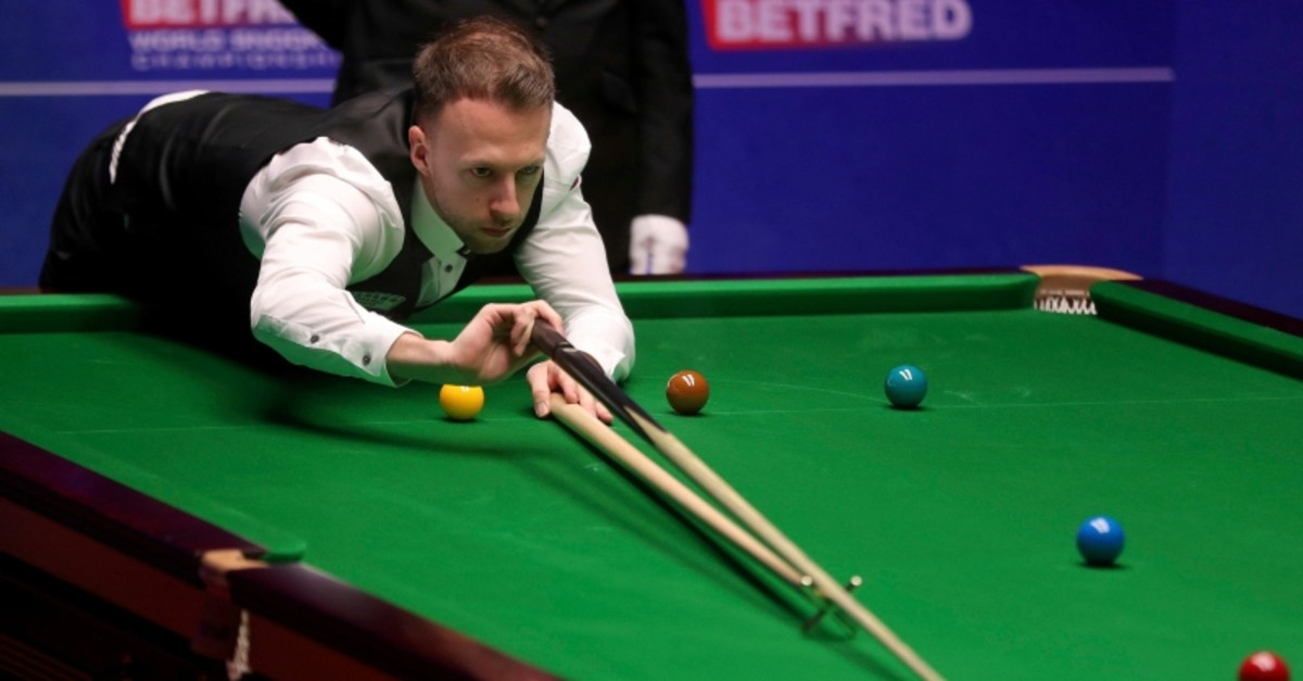 Judd Trump at the table during his match against John Higgins, during Final of the World Snooker Championship in Sheffield, England, Monday May 6, 2019. (AP Photo)