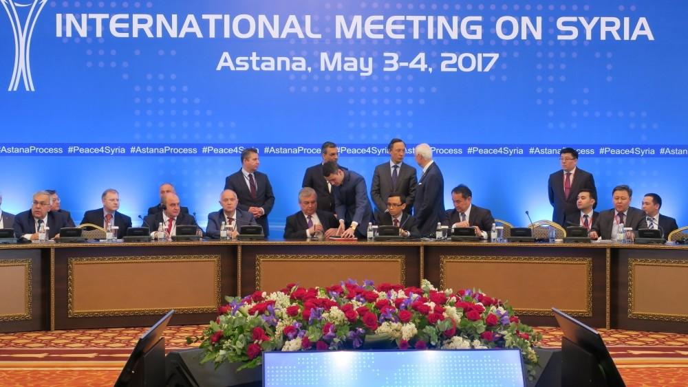 Turkish FM's Sedat u00d6nal, Russian lead negotiator on Syria Alexander Lavrentyev, Iranian D. FM Hossein Jaberi Ansari, Kazakh FM Kairat Abdrakhmanov and U.N. Special Envoy for Syria Staffan de Mistura attend fourth round of Syria peace talks in Astana.