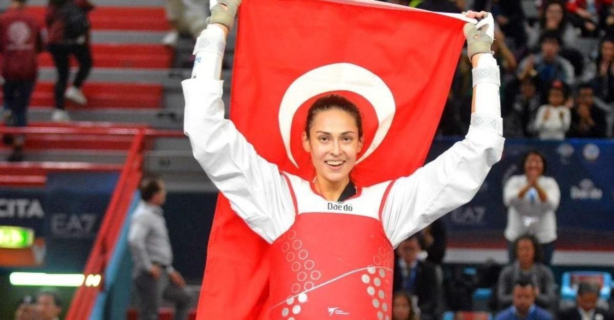 Turkish national taekwondo athlete u0130rem Yaman wins gold in Italy. (DHA Photo)