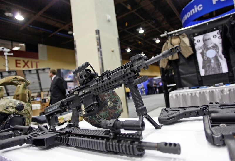 An AR-15 style rifle is displayed at the 7th annual Border Security Expo in Phoenix, Arizona. (Reuters Photo)
