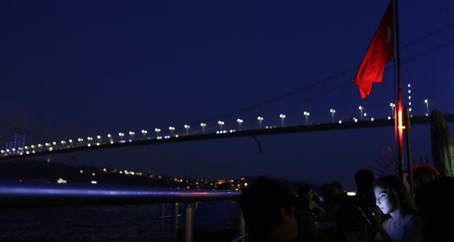 The bridge spanning the Bosphorus, known until recently as Bosporus Bridge, is renamed following the failed coup attempt as 15 of July Martyrs bridge, Istanbul, Aug. 2.