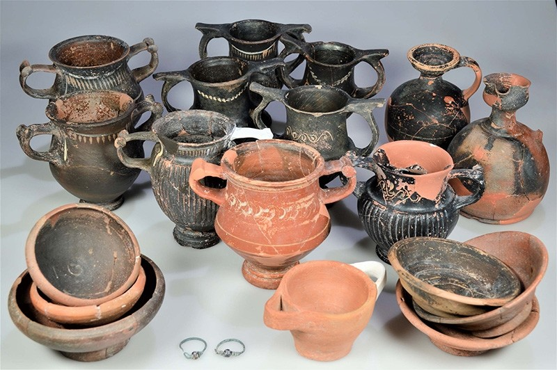 Urn-like vases found in family grave in the ancient city of Assos in western Turkey. (AA Photo)