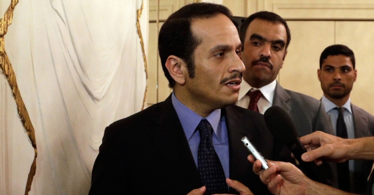 Qatari Foreign Minister Sheikh Mohammed bin Abdulrahman Al Thani, talks to journalists during a press conference in Rome, Saturday July 1, 2017. (AP Photo)