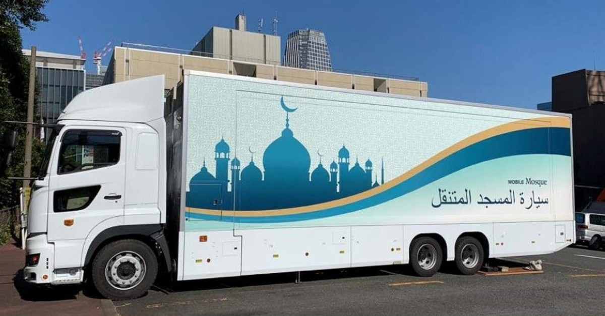 The Mobile Mosque parked at a lot in Tokyo, Feb. 5, 2020. (Reuters Photo)