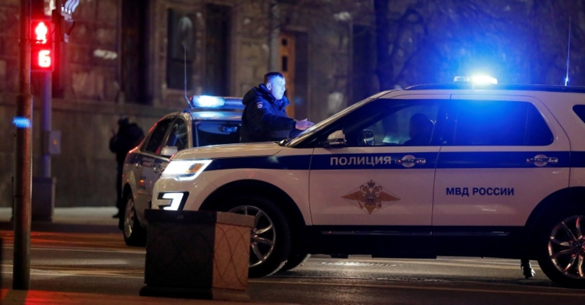 Police vehicles block a street near the Federal Security Service (FSB) building after a shooting incident, in Moscow, Russia December 19, 2019. (Reuters Photo)