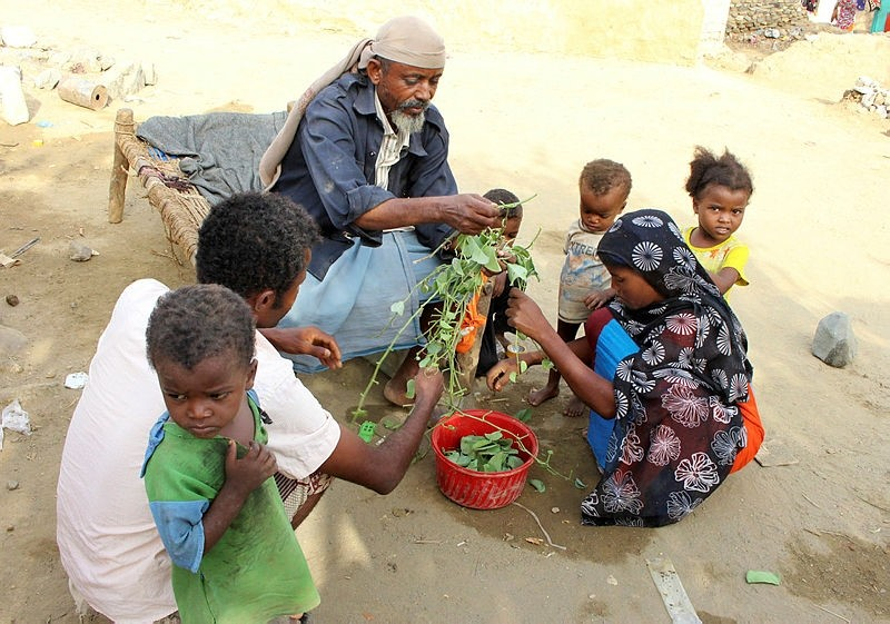A man feeds children in Aslam, Hajjah, Yemen. Yemenis in the isolated pocket in the north have been reduced to eating boiled leaves from a local vine to stave off starvation, with no aid reaching many families who need it most.  (AP Photo)