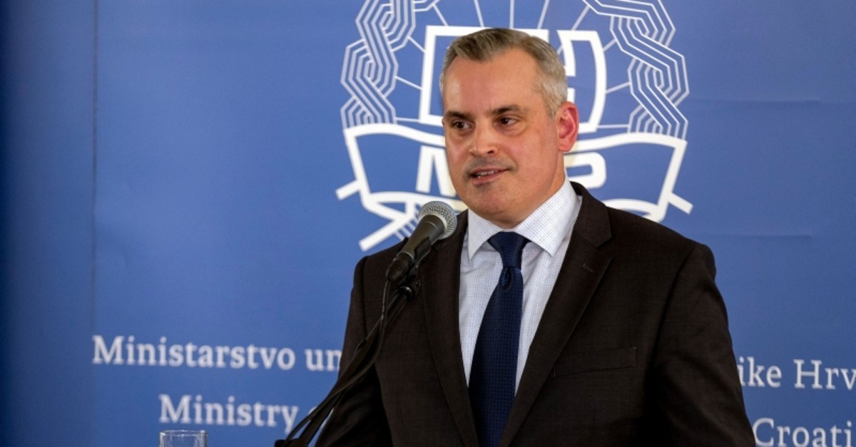 Jeff Ferris from the Drug Enforcement Administration (DEA) speaks during a press conference while presenting results of the criminal investigation codename ,Familia,, in Zagreb on July 25, 2019. (AFP Photo)