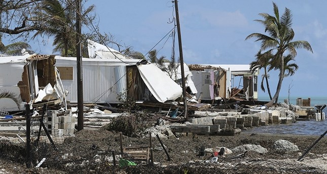 Destroyed trailers are seen at the Seabreeze trailer park along the Overseas Highway in the Florida Keys on Tuesday, Sept. 12, 2017. (AP Photo)