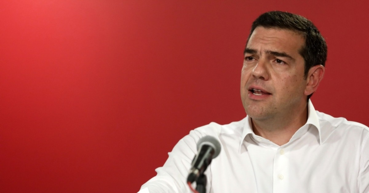 Greece's Prime Minister Alexis Tsipras makes statements at the Syriza party headquarters in Athens on Sunday, May 26, 2019. Tsipras calls for a snap national election following European election loss. (AP Photo)