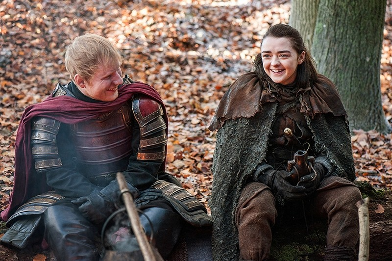 This image released by HBO shows Ed Sheeran, left, and Maisie Williams in a scene from ,Game of Thrones., (AP Photo)
