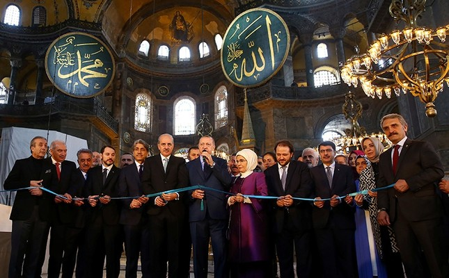 President Recep Tayyip Erdoğan attends opening ceremony of Yeditepe Biennial at the Byzantine-era monument of Hagia Sophia, known as Ayasofya which is now a museum, in Istanbul, Turkey March 31, 2018. Photo: Kayhan Özer/ Presidential Photo Service