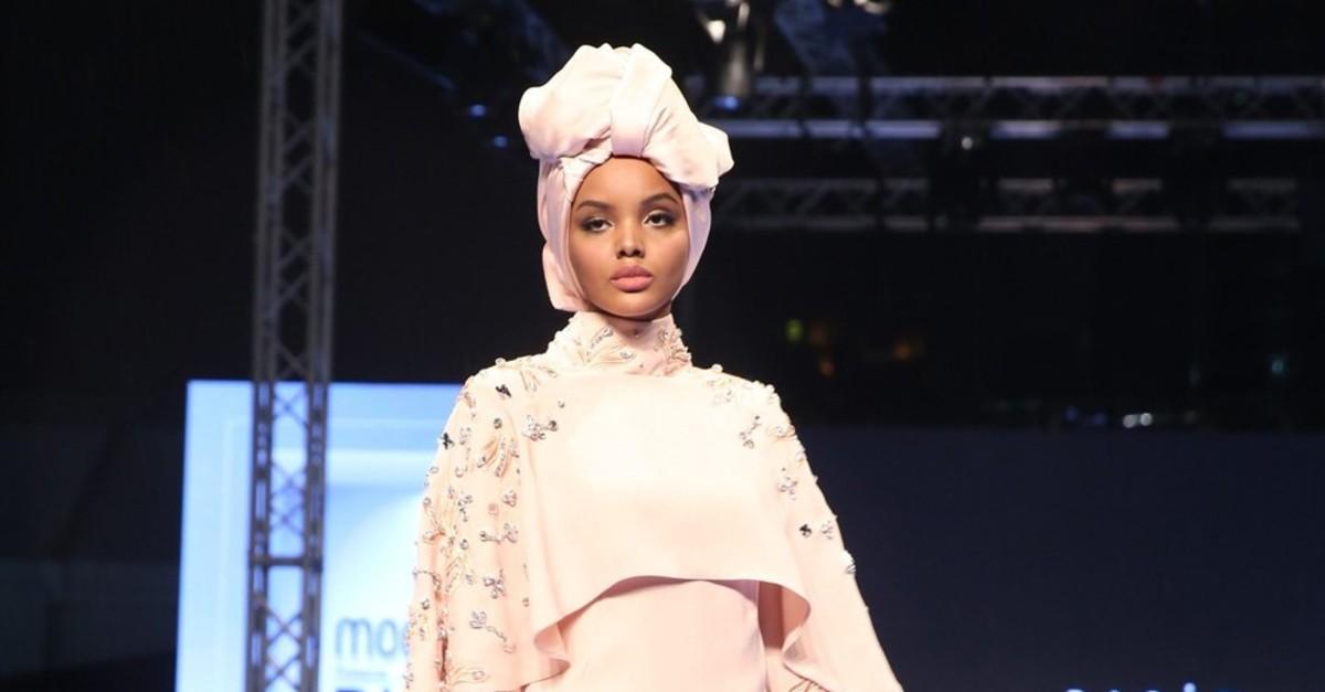 Supermodel  Halima Aden walks on the runway at Turkish designer Rau015fit Bau011fzu0131bau011flu0131u2019s show at Modest Fashion Week in Dubai last year.