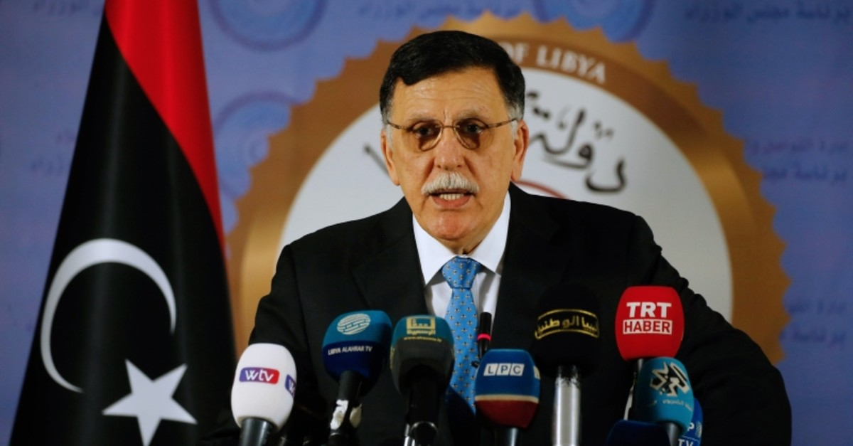 Libya's Government of National Accord (GNA) Prime Minister Fayez al-Sarraj speaks during a press conference in Tripoli, Libya, July 16, 2019. (AFP Photo)