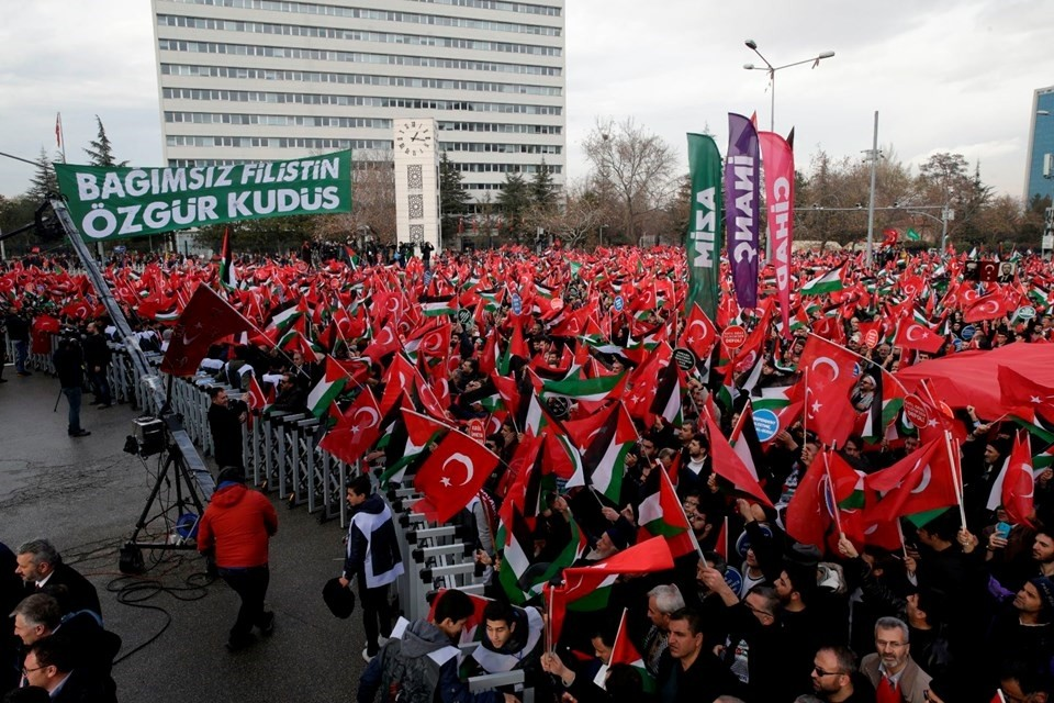 Protesters gather in the Turkish capital to protest the U.S. move on Jerusalem on December 17, 2017.