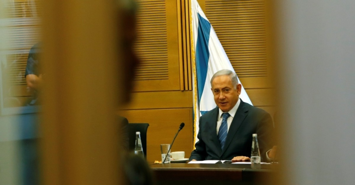 Israeli Prime Minister Benjamin Netanyahu looks on as he delivers a statement to the media at the start of his Likud party faction meeting at the Knesset, Israel's parliament, in Jerusalem Sept. 23, 2019. (Reuters Photo)