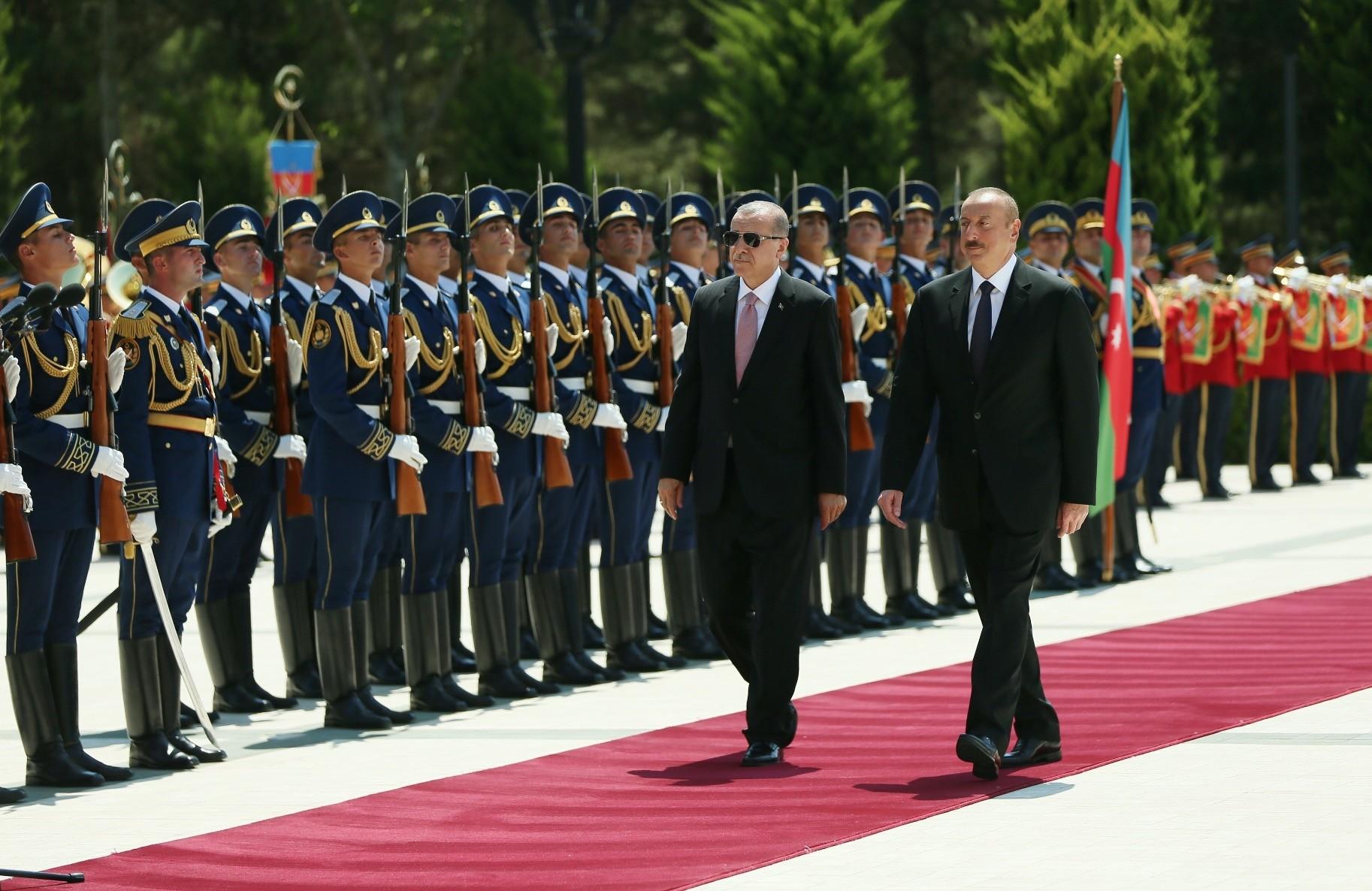 President Recep Tayyip Erdou011fan with his Azerbaijani counterpart, President Ilham Aliyev in Baku, July 11.