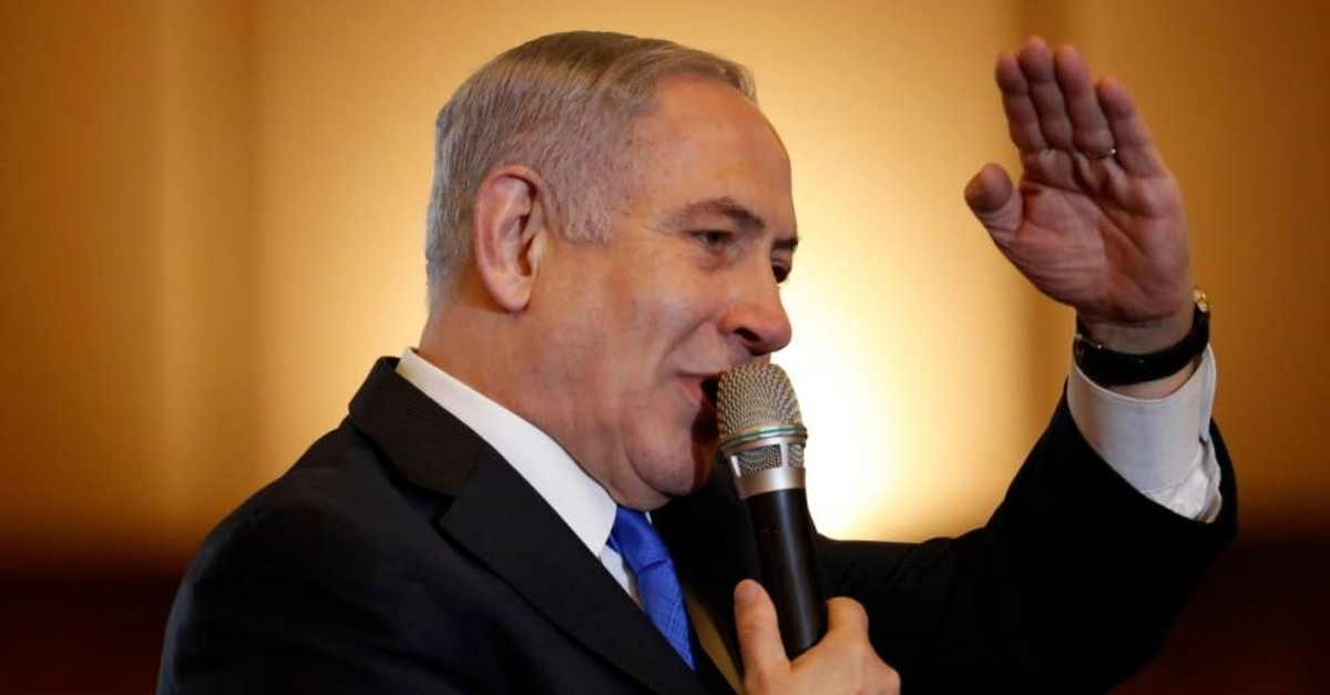 Israeli Prime Minister Benjamin Netanyahu addresses the Conference of Presidents of Major American Jewish Organizations (CoP), Jerusalem, Feb. 16, 2020. (AFP Photo)