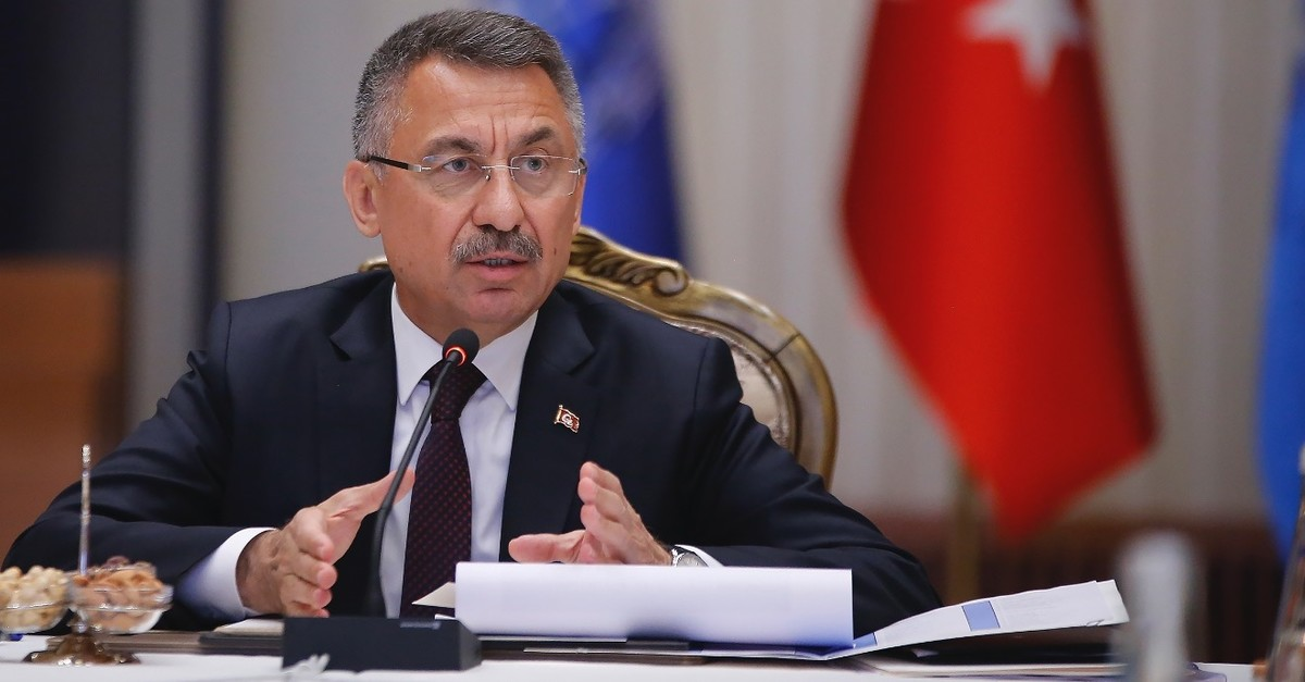Vice President Fuat Oktay speaks at a meeting of the Coordination Council for the Improvement of Investment Environment (YOu0130KK) in Ankara, April 25, 2019.