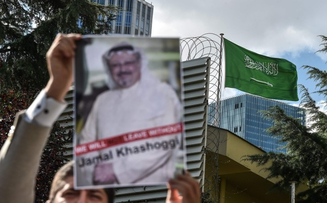 In this file photo taken on Oct. 5, 2018, a protester holds a picture of missing journalist Jamal Khashoggi during a demonstration in front of the Saudi Arabian consulate in Istanbul. (AFP Photo)