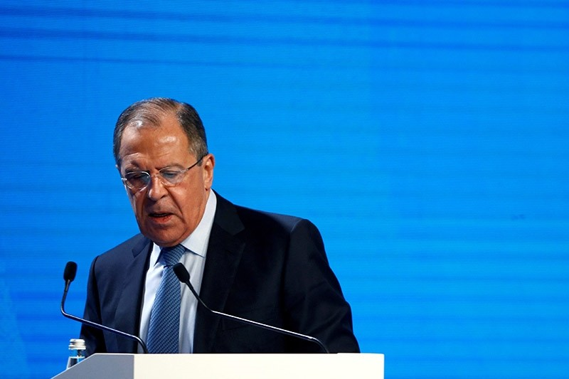Russian Foreign Minister Sergey Lavrov arrives to deliver a speech at the 5th Moscow Conference on International Security (MCIS) in Moscow, Russia, April 27, 2016. (Reuters Photo)