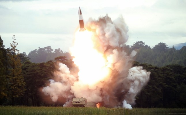 This picture taken on August 16, 2019 and released on August 17 by North Korea's KCNA shows the test-firing of a new weapon, presumed to be a short-range ballistic missile, at an undisclosed location. (AFP Photo)