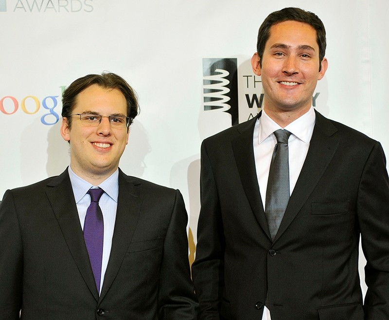 Instagram founders Mike Krieger (L) and Kevin Systrom attend the 16th annual Webby Awards in New York May, 21 2012. (Reuters Photo)