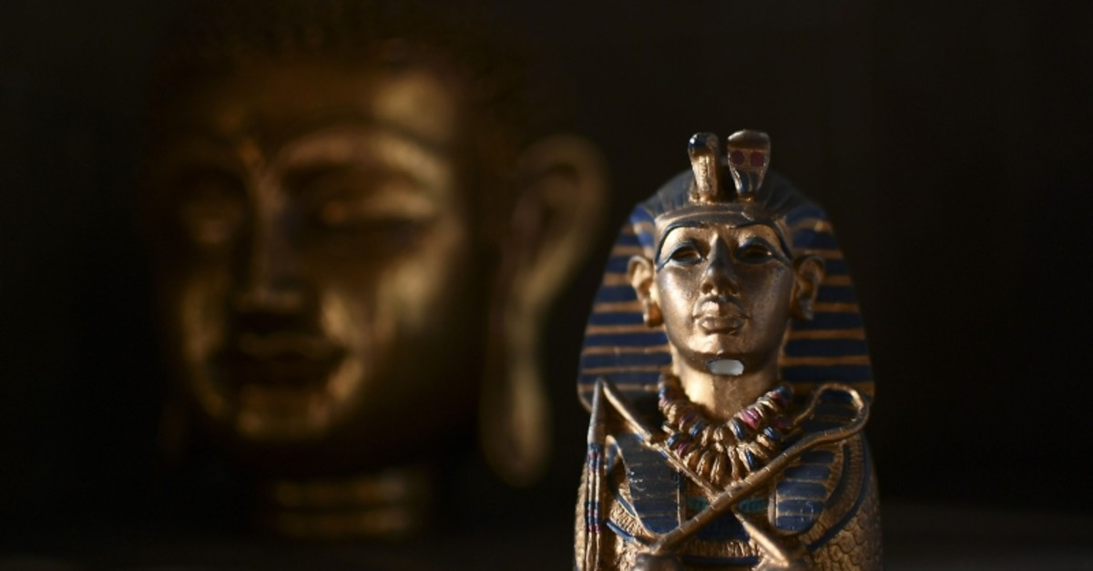 A photo taken on June 24, 2017 shows a small a sculpture of Egyptian pharaoh Tutankhamun at the ,Universal Temple, in Kazan, Russia (AFP Photo)