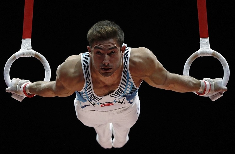 Turkish national athlete Ibrahim u00c7olak competes at the European Artistic Gymnastics Championships in Glasgow, Scotland, U.K. on Aug. 12, 2018. (Reuters Photo)
