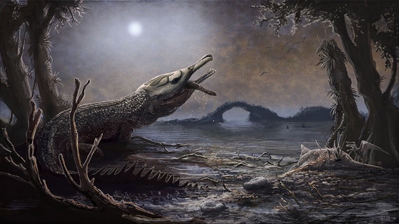 This handout image released by the Trustees of the Natural History Museum in London on August 8, 2017 shows an artists rendering of a Lemmysuchus, a Jurassic-era sea-dwelling crocodile (AFP Photo)