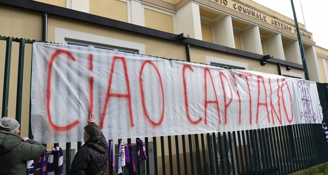 A giant banner reading Ciao Captain is hanged on the fence of Fiorentina's stadium, on March 4, 2018 in Florence. (AFP Photo)