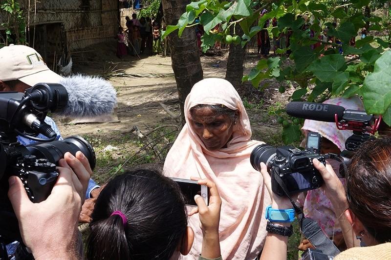 A Rohingya woman speak to media in Maung Na Ma village, northern Rakhine, Myanmar July 13, 2017.  (Reuters Photo)