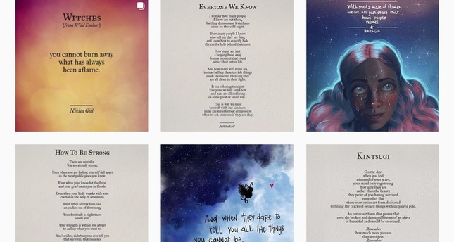 A screenshot taken from the Instagram page of Nikita Gill shows examples of her poetry.
