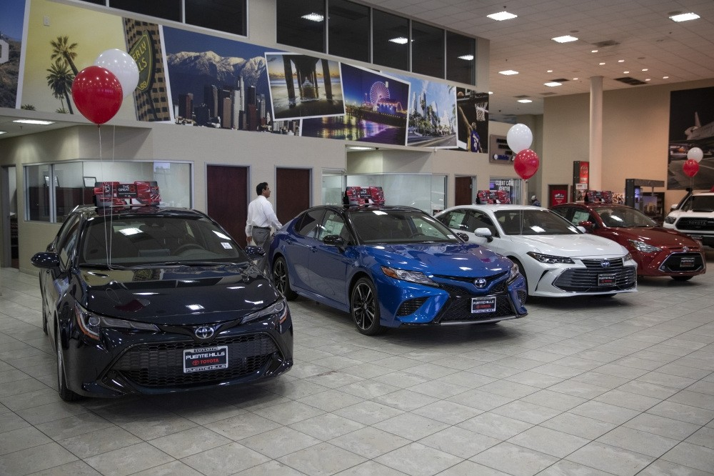 Toyota sedans are displayed in a showroom at Puente Hills Toyota in Industry, Calif., Feb. 14, 2019.