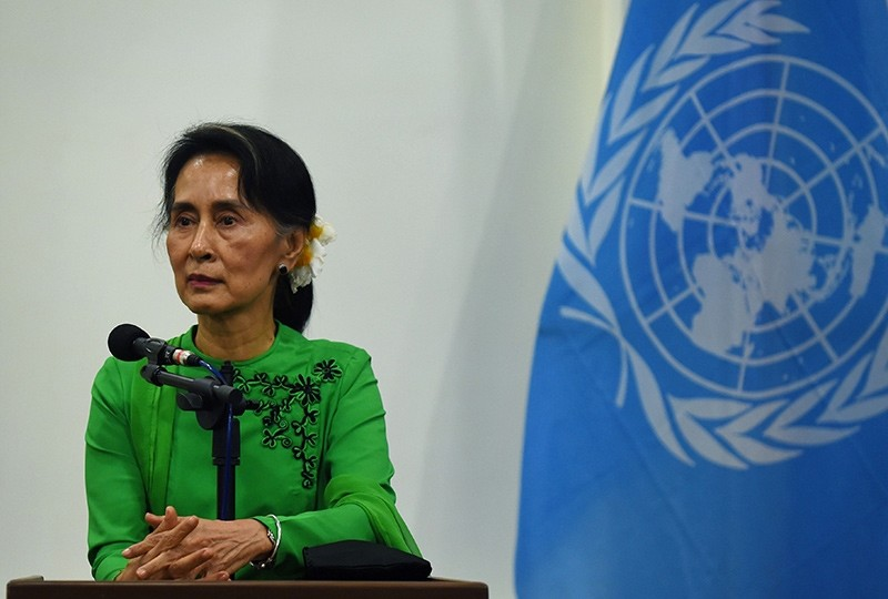 This file photo taken on August 30, 2016 shows Myanmar State Counsellor and Foreign Minister Aung San Suu Kyi listening to a journalist's question during a joint press conference with the UN secretary general in Naypyidaw (AFP Photo)